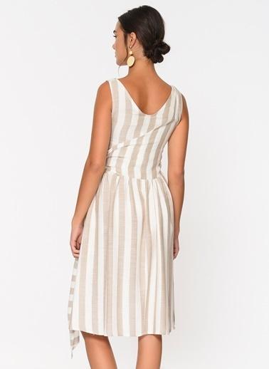 Loves You Yandan Bağlamalı Keten Görünümlü Elbise Bej